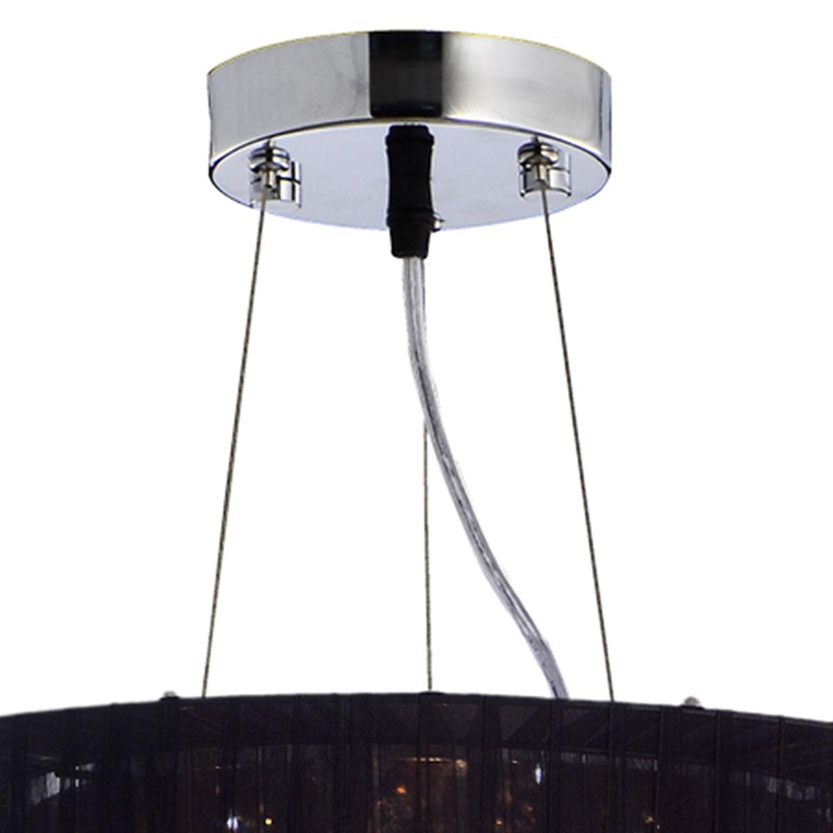 Pendente Toronto Circular Preto 50x34cm 4 soquetes E-27 Bivolt