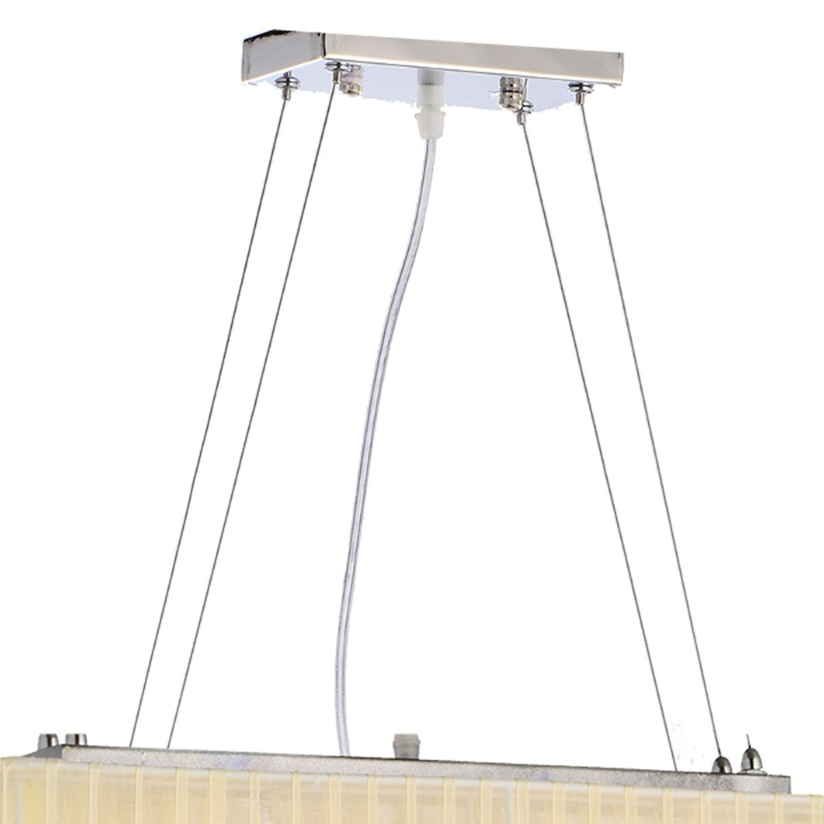 Pendente Toronto Retangular Creme 60x20cm E-27 4 Lamp. Max. 60w