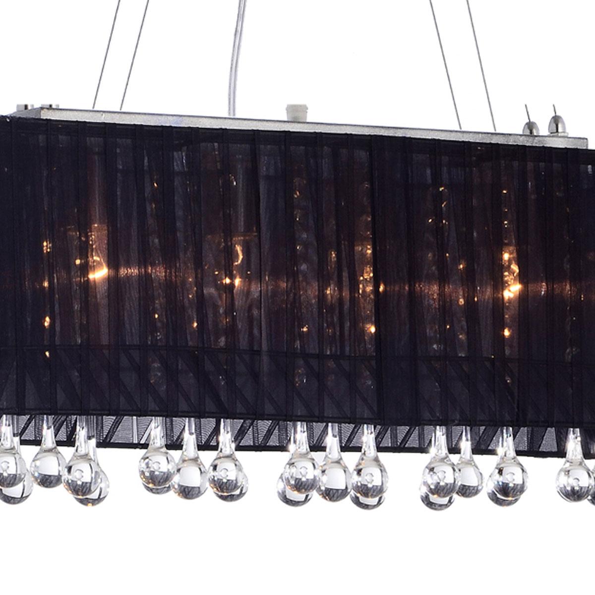 Pendente Toronto Retangular Preto 60x20cm 4 soquetes E-27 Bivolt