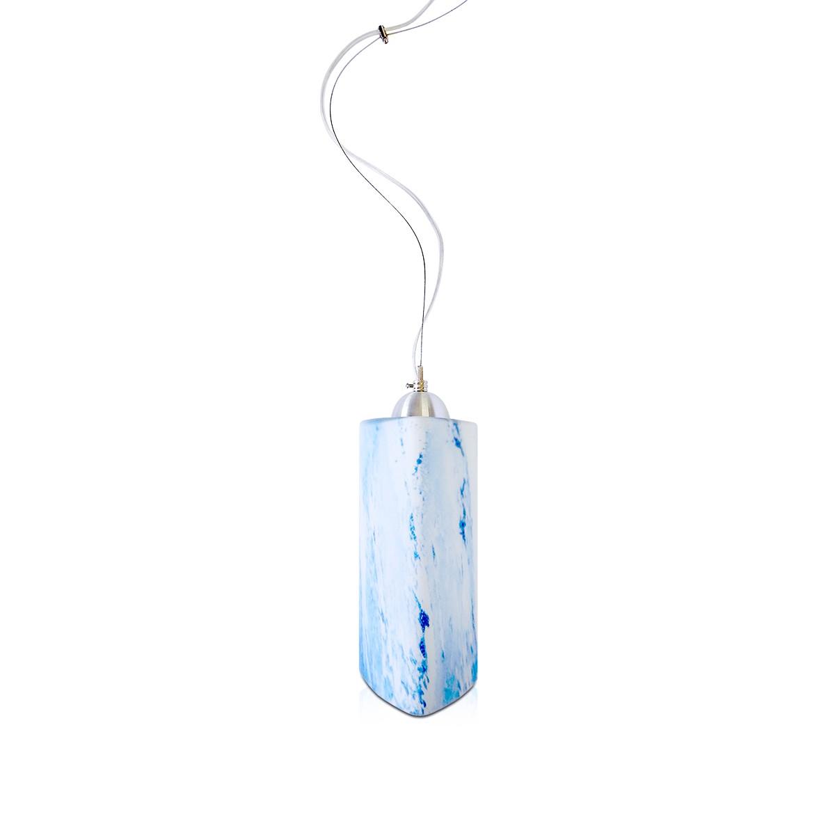 Pendente Trio Aluminio+Vidro Triangular Fosco E-27 1 Lamp. Max 60w Azul