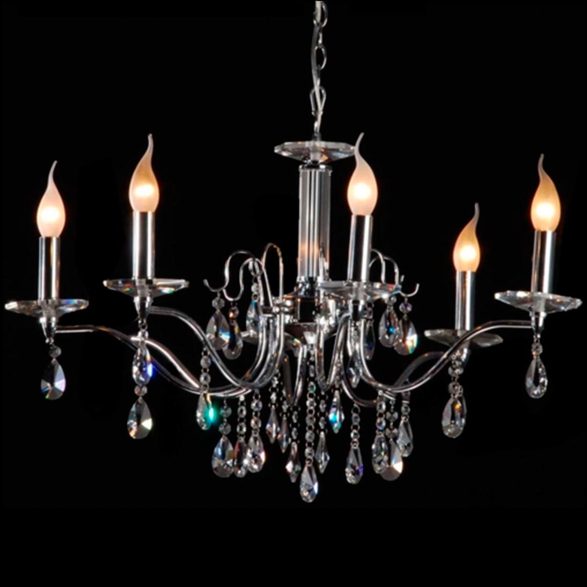 Pendente Tropical Cristal 5 Lampadas E-14