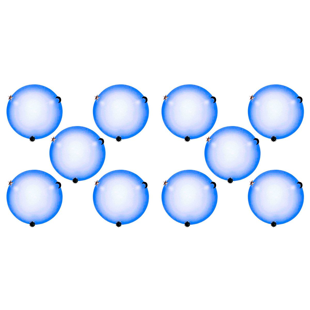 Plafon Colors 30cm 2 Lampadas E-27 Max 60w Vidro Azul 10 Unidades