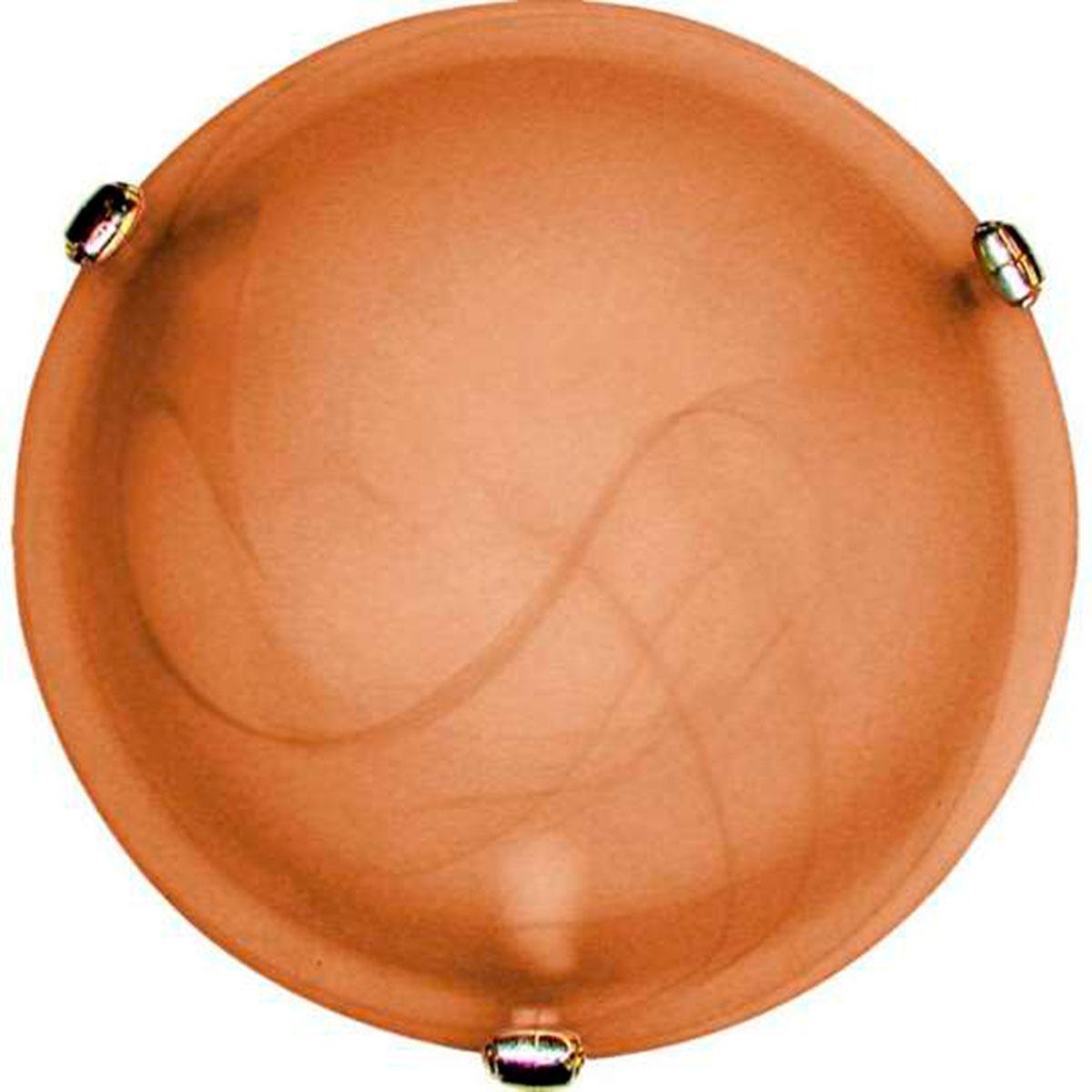 Plafon Murano Vidro 30cm 2 Lampadas E-27 Max 60w Cor Cafe Com Garra Dourada