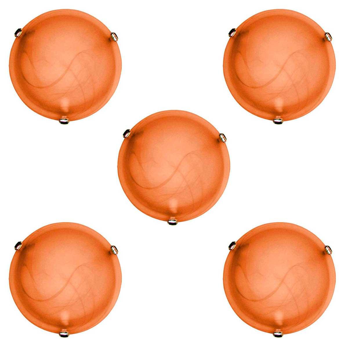 Plafon Murano Vidro 30cm 2 Lampadas E-27 Max 60w Cor Cafe Com Garra Dourada 5 Unidades