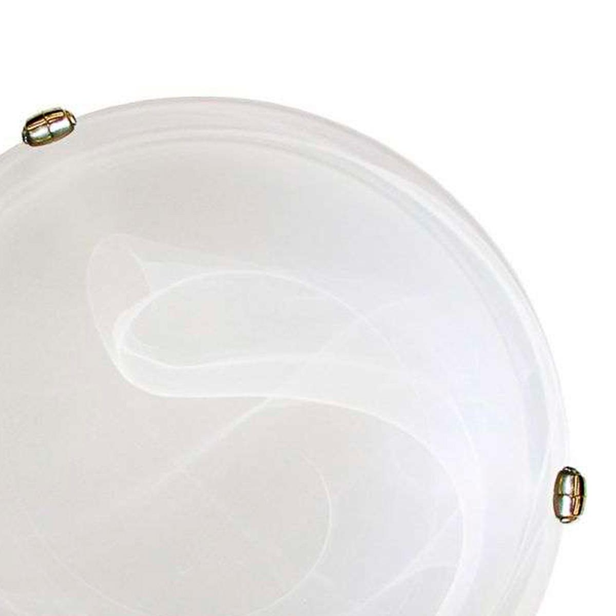 Plafon Murano Vidro 40cm 3 Lampadas E-27 Max 60w Cor Branco Com Garra Dourada