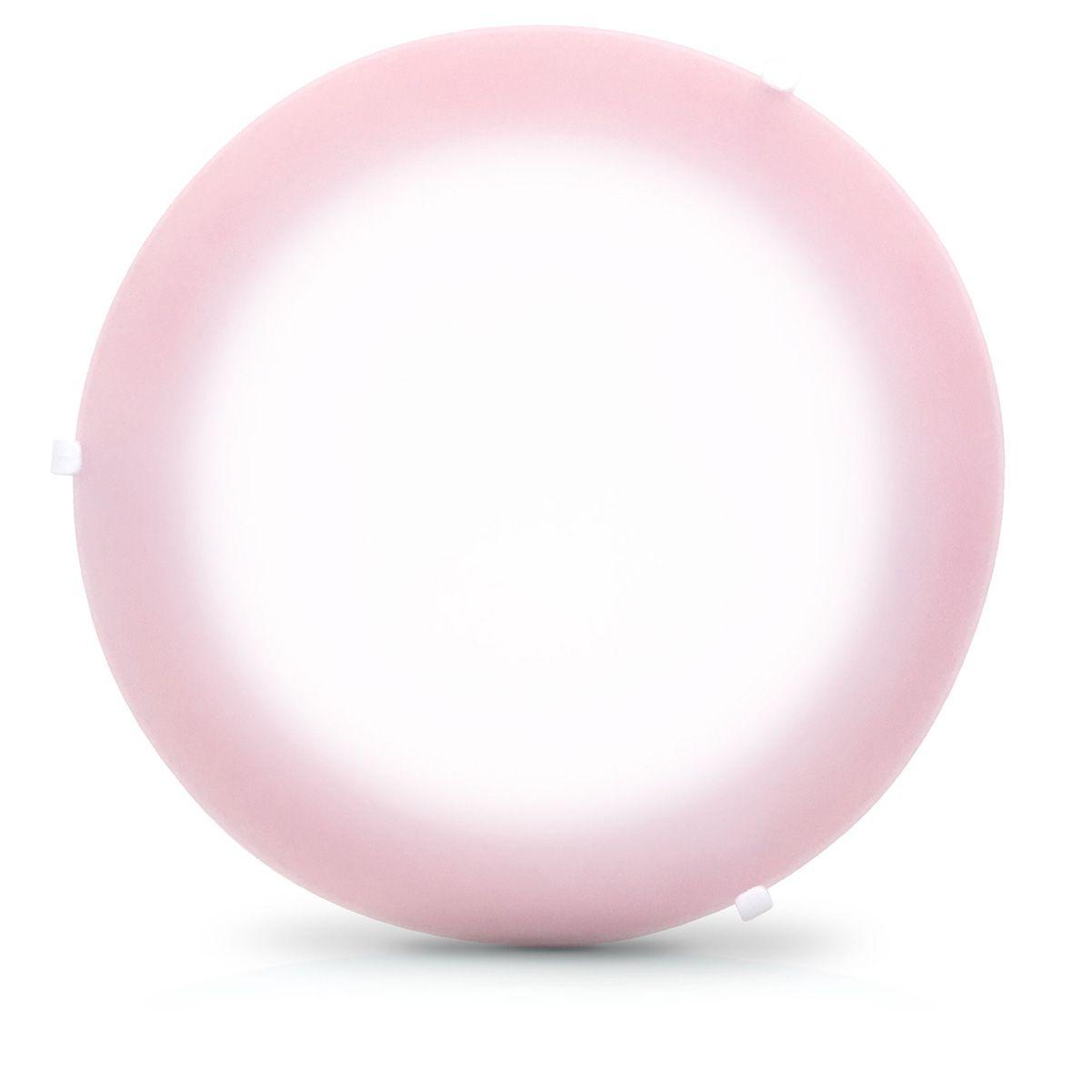 Plafon Pop Colors 25cm Para 1 Lampada Com Soquete E-27 E Vidro Borda Rosa 10 Unidades