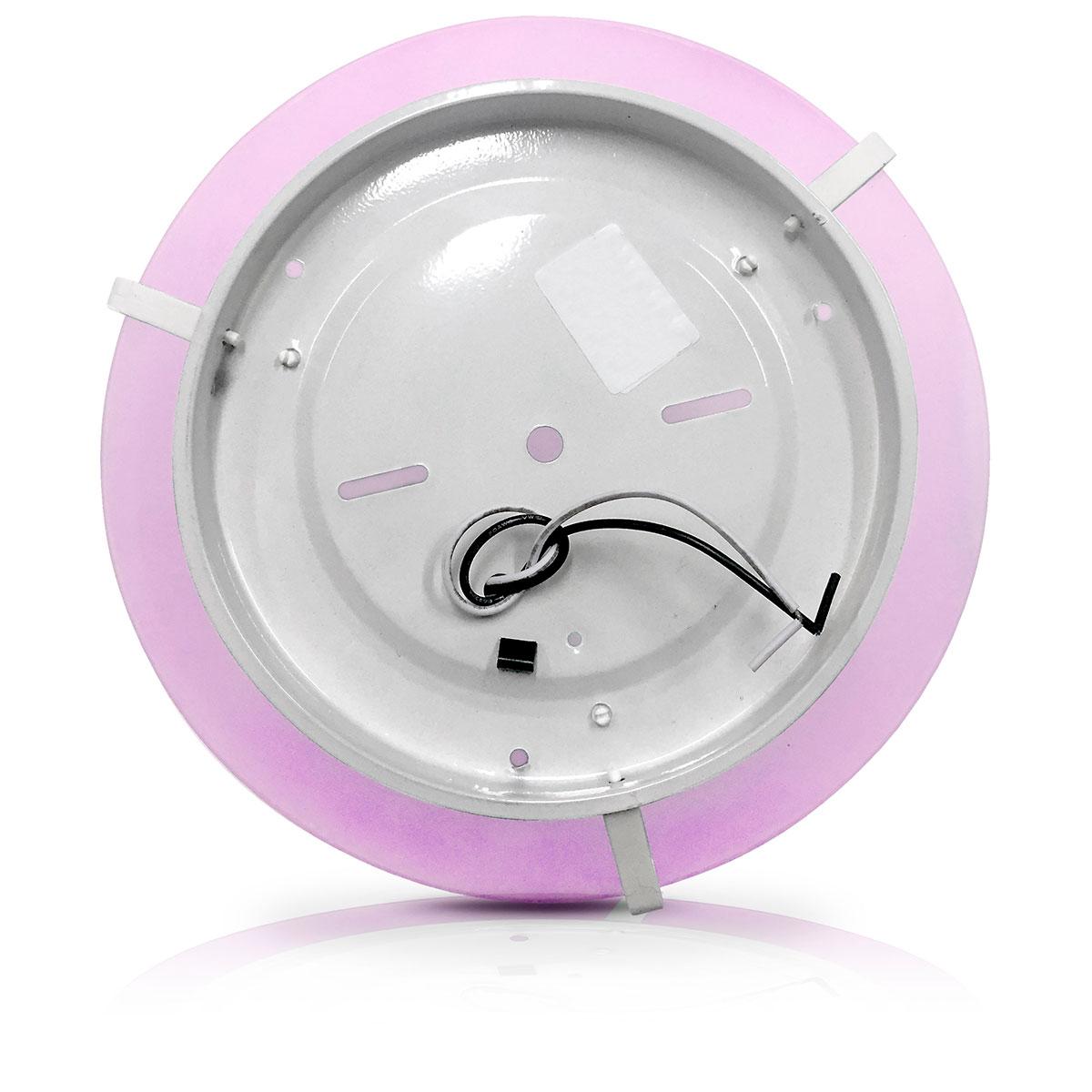 Plafon Pop Colors 30cm Para 2 Lampadas Com Soquete E-27 E Vidro Borda Rosa
