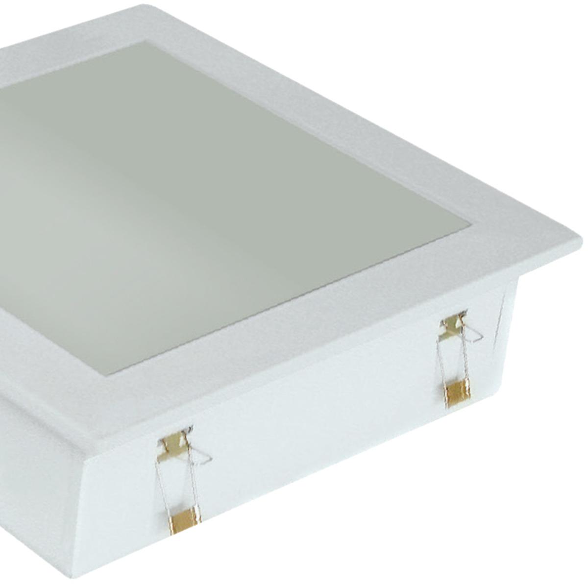 Plafon Space Emb. Quad. 25cm Alum. Vidro Fosco E-27 2 Lamp. Max 60w Branco