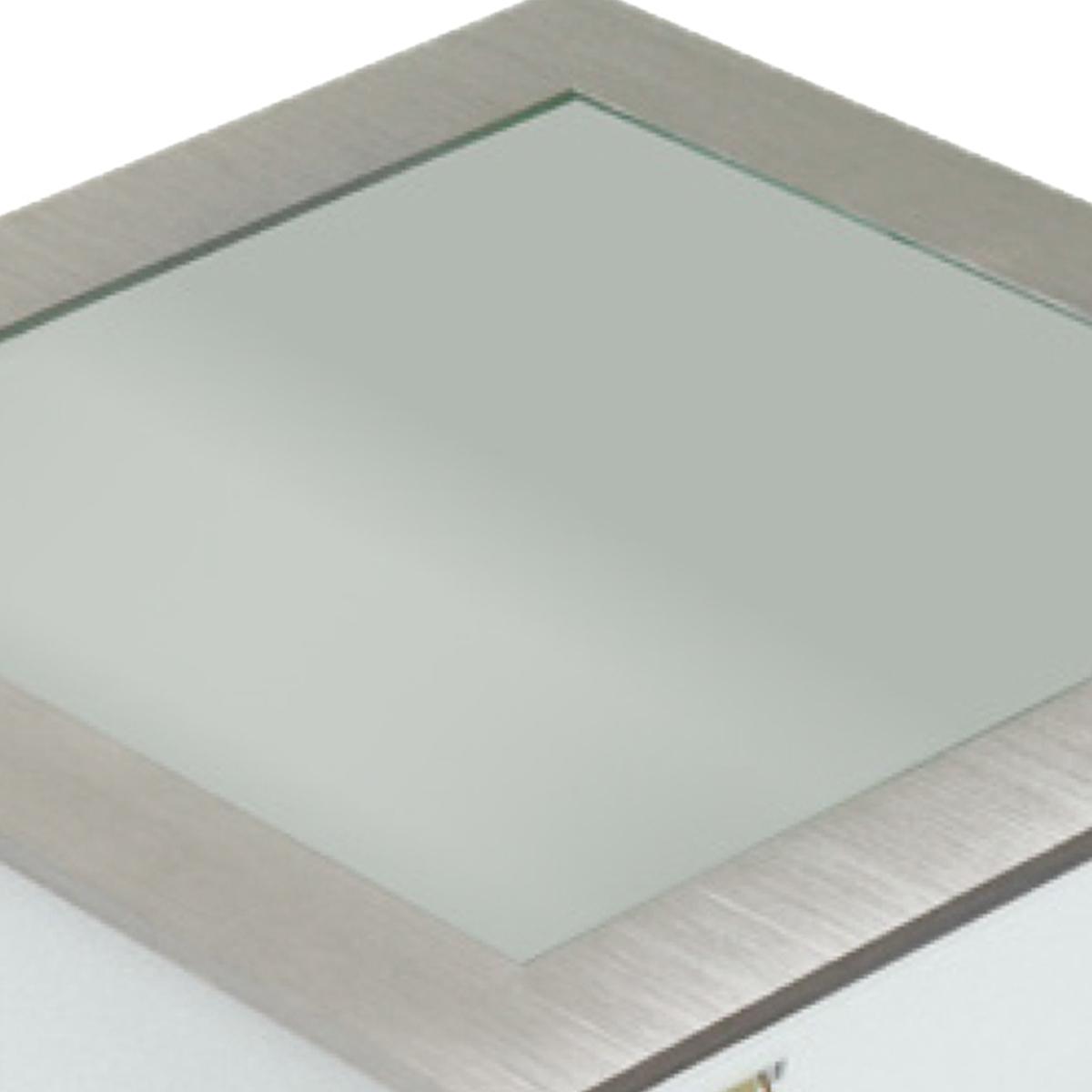 Plafon Space Emb. Quad. 25cm Alum. Vidro Fosco E-27 2 Lamp. Max 60w Escovado