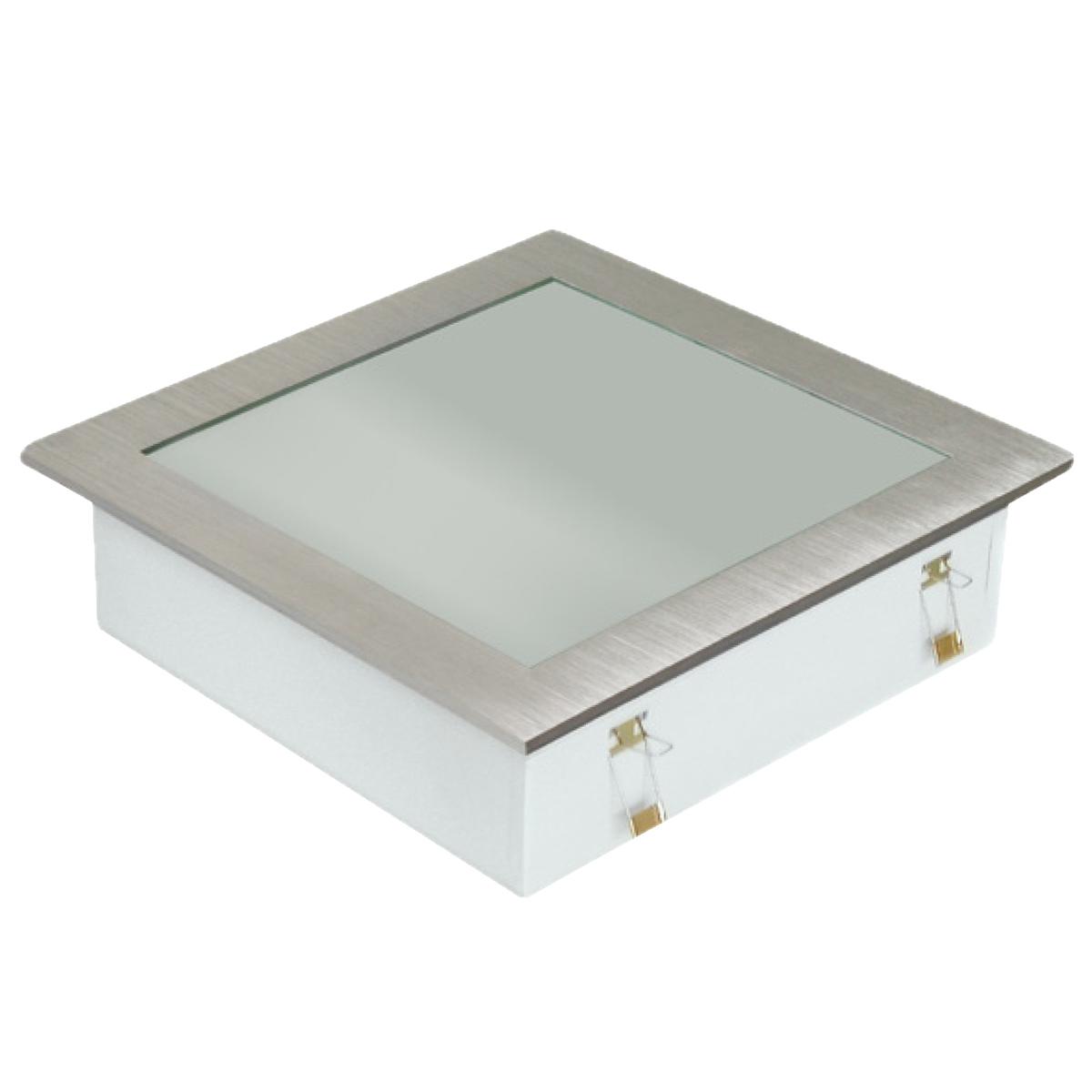 Plafon Space Emb. Quad. 30cm Alum. Vidro Fosco E-27 3 Lamp. Max 60w Escovado