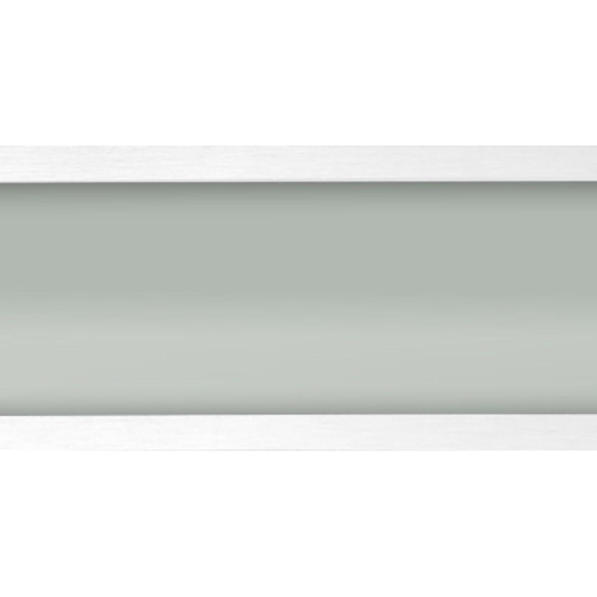 Plafon Space Emb. Ret. 135cm Alum. Vidro Fosco 2x40w Fluor.  Branco 05 Unidades