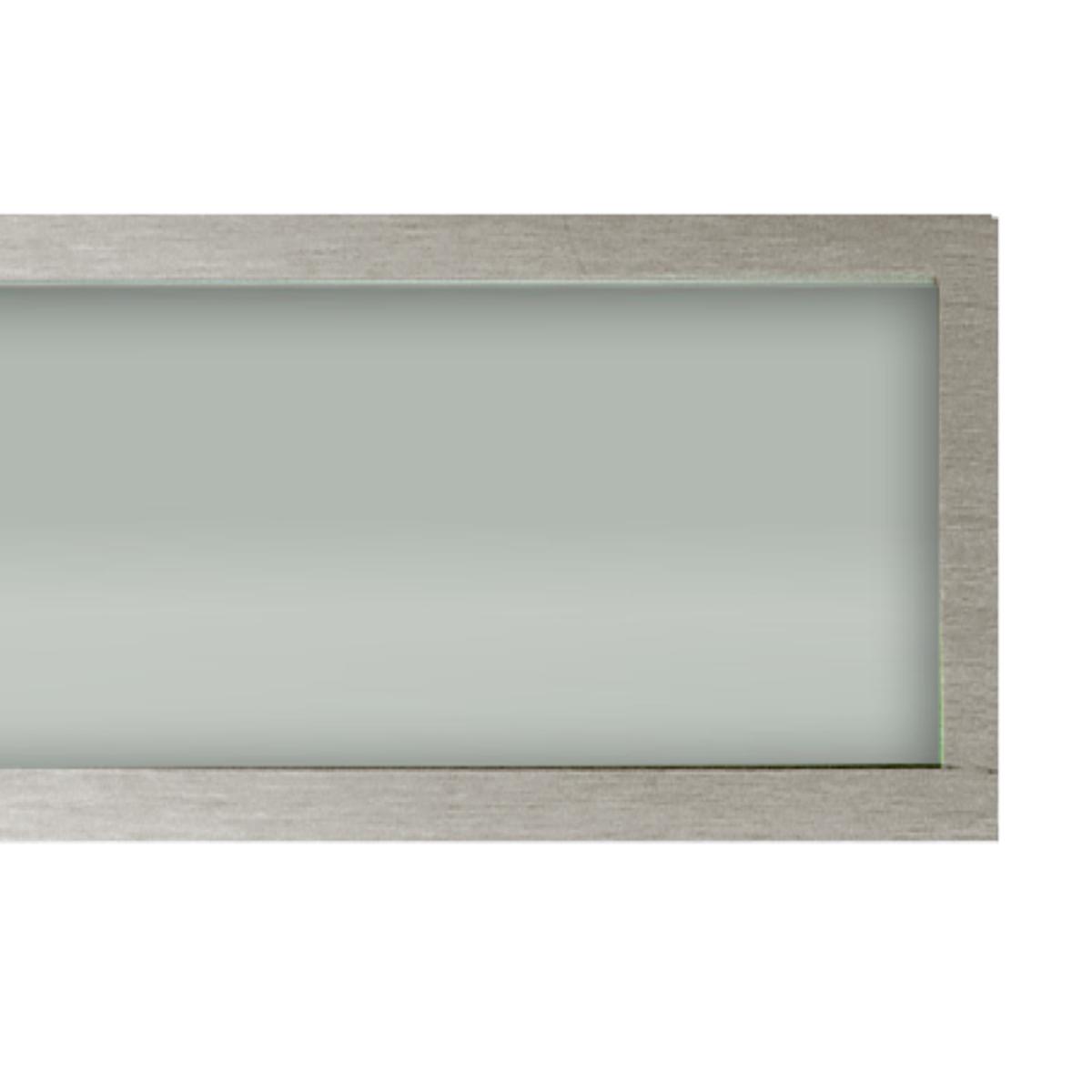 Plafon Space Emb. Ret.   75cm Alum. Vidro Fosco 2x20w Fluor.  Escovado