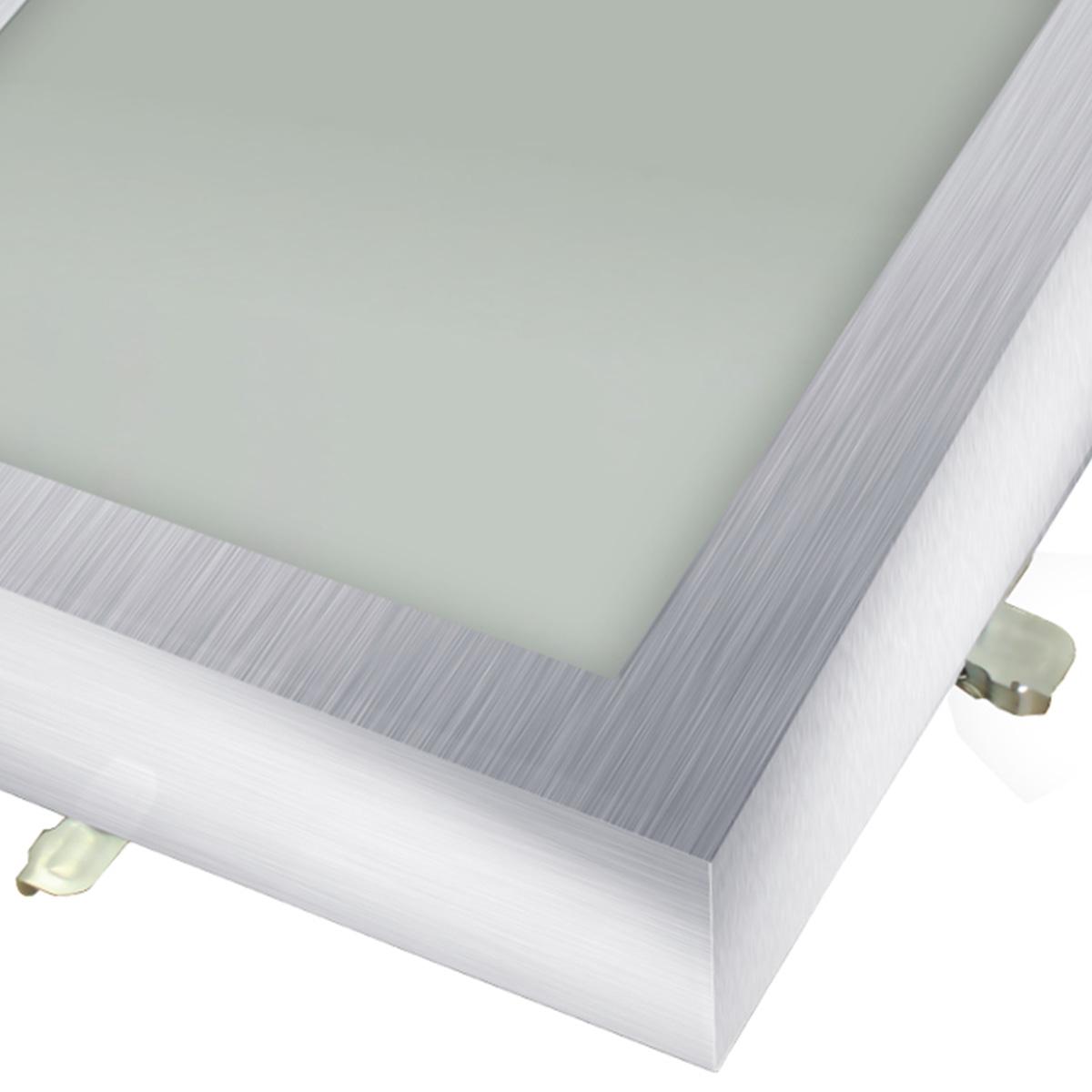 Plafon Space Sobr. Quad. 20cm Alum. Vidro Fosco E-27 1 Lamp. Max 60w Escovado