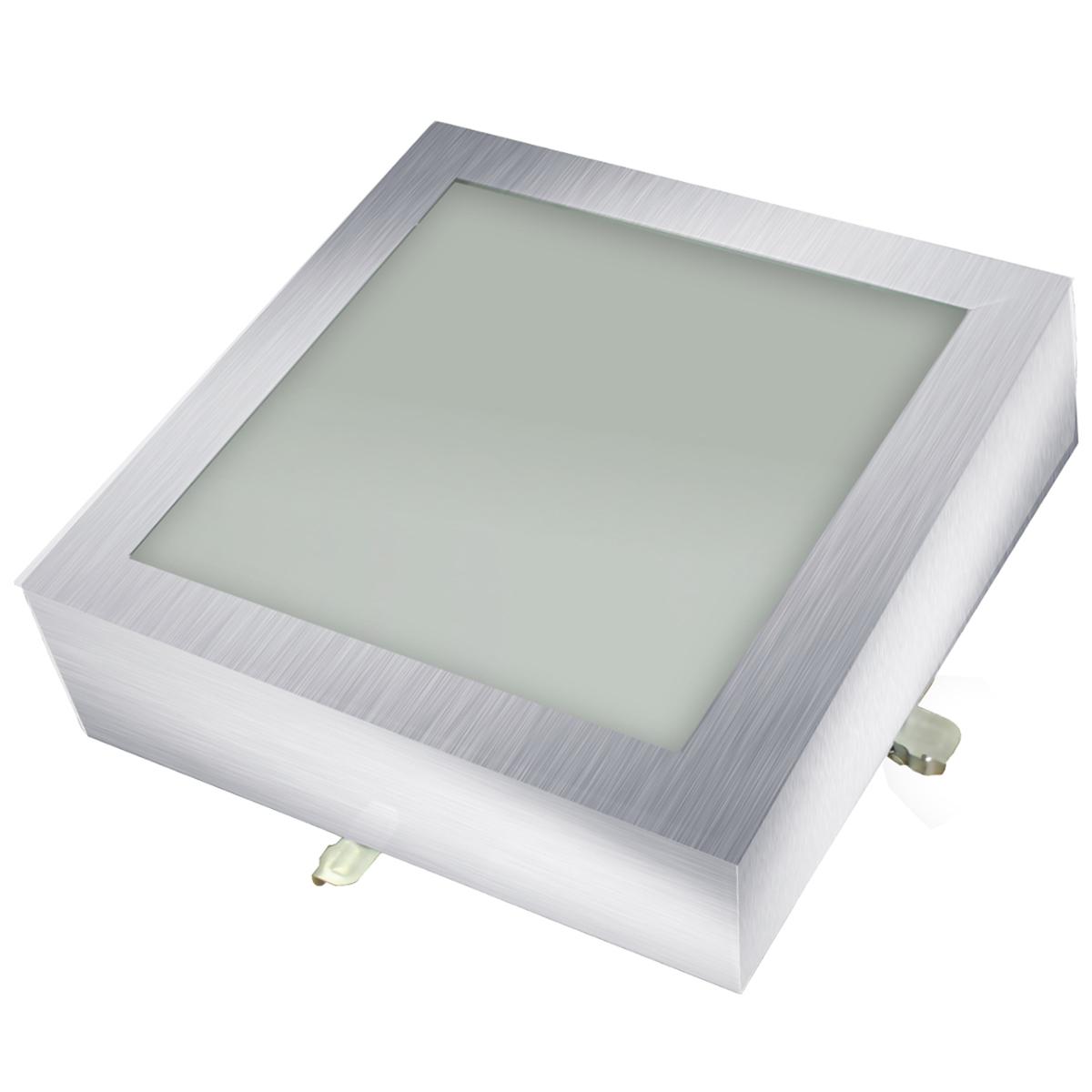 Plafon Space Sobr. Quad. 25cm Alum. Vidro Fosco E-27 2 Lamp. Max 60w Escovado