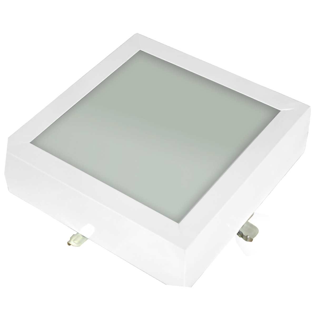 Plafon Space Sobr. Quad. 30cm Alum. Vidro Fosco E-27 3 Lamp. Max 60w Branco