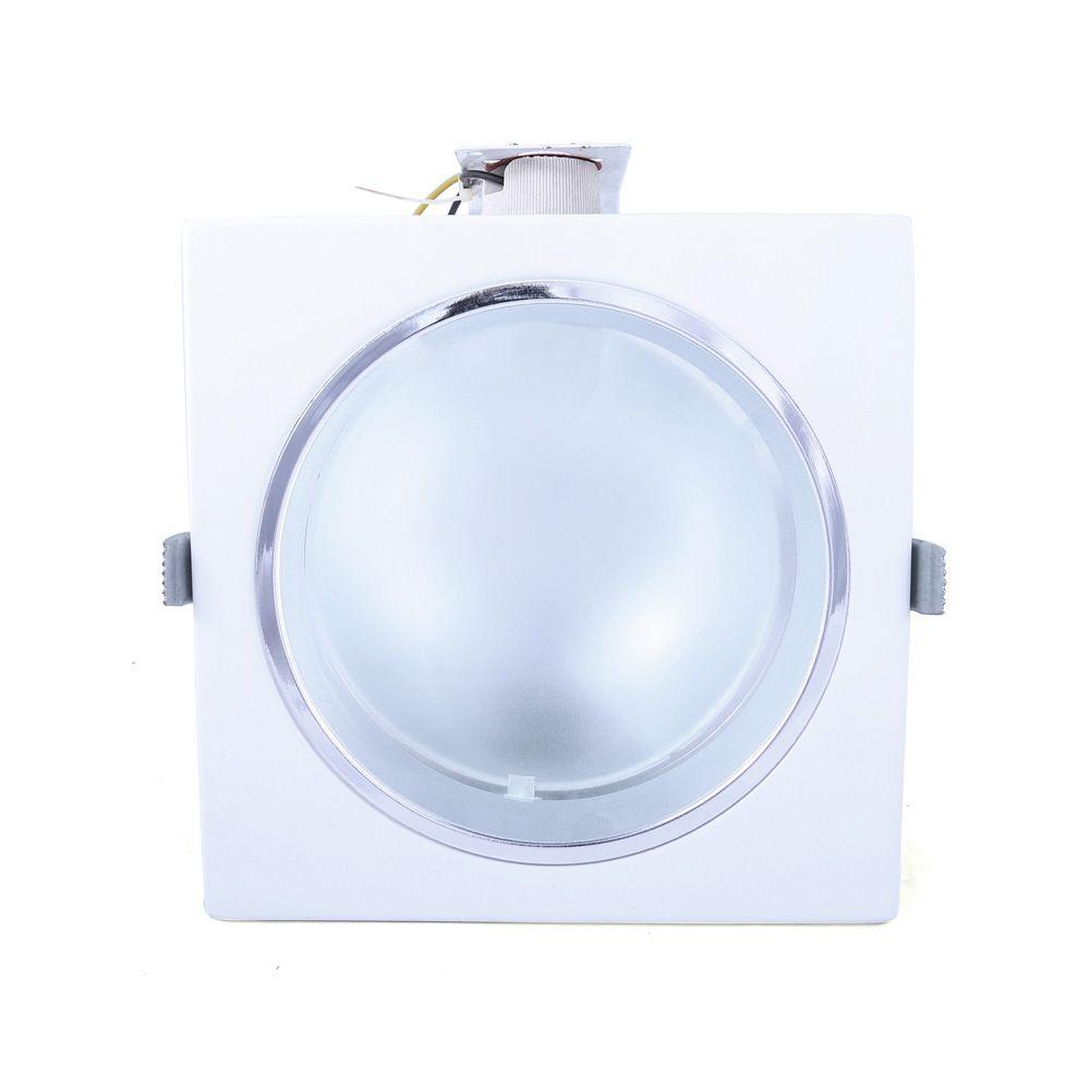 Refletor Mars De Embutir 18cm E-27 1 Lamp. Max 60w Mold. Branca E Borda Cromada