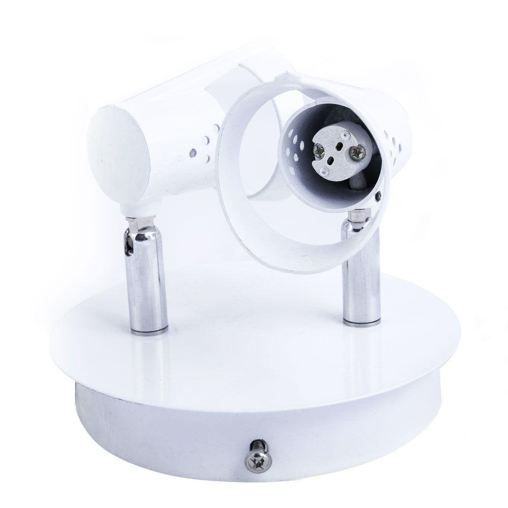 Spot Base 2 Lâmpadas Dicroica Branco - Cromado