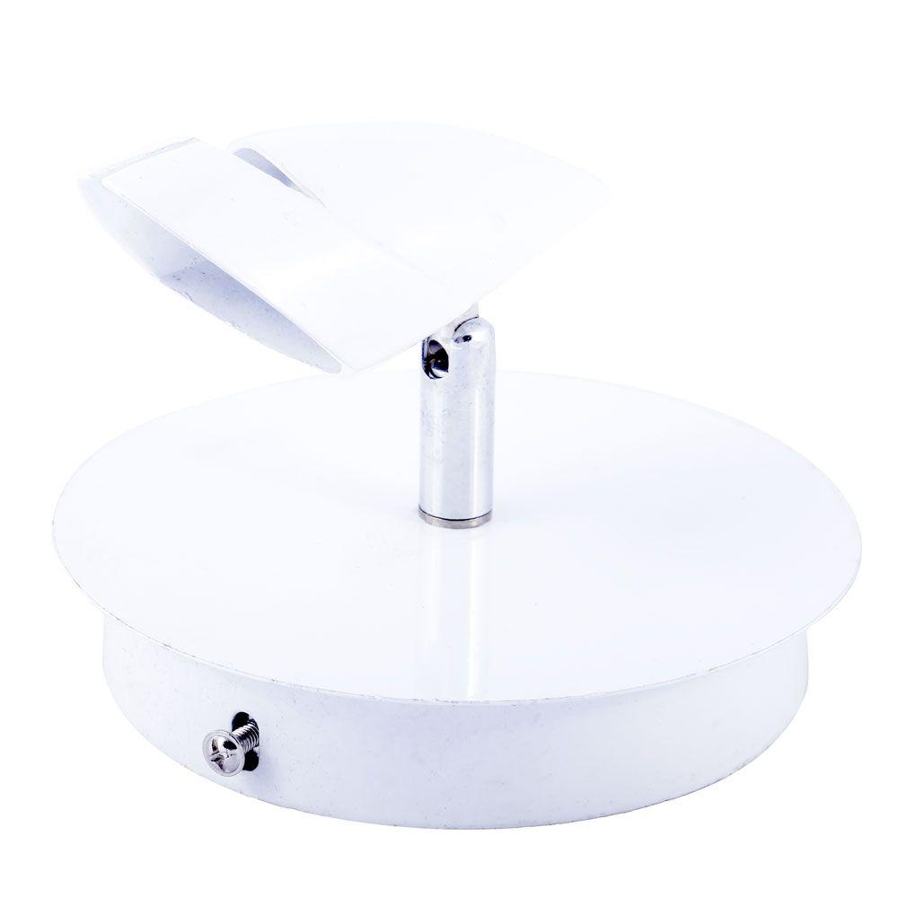 Spot Base De Canopla Branco Com Cromado 1 Lampada Mr16 Dicroica