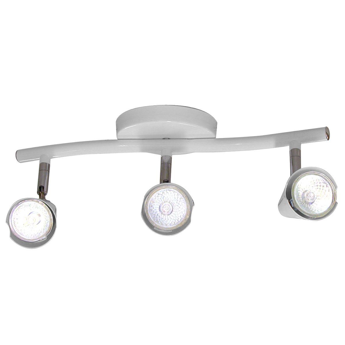 Spot Track Lince Base Regulavel Branca em Aco com 3 Lampadas 10 Unidades
