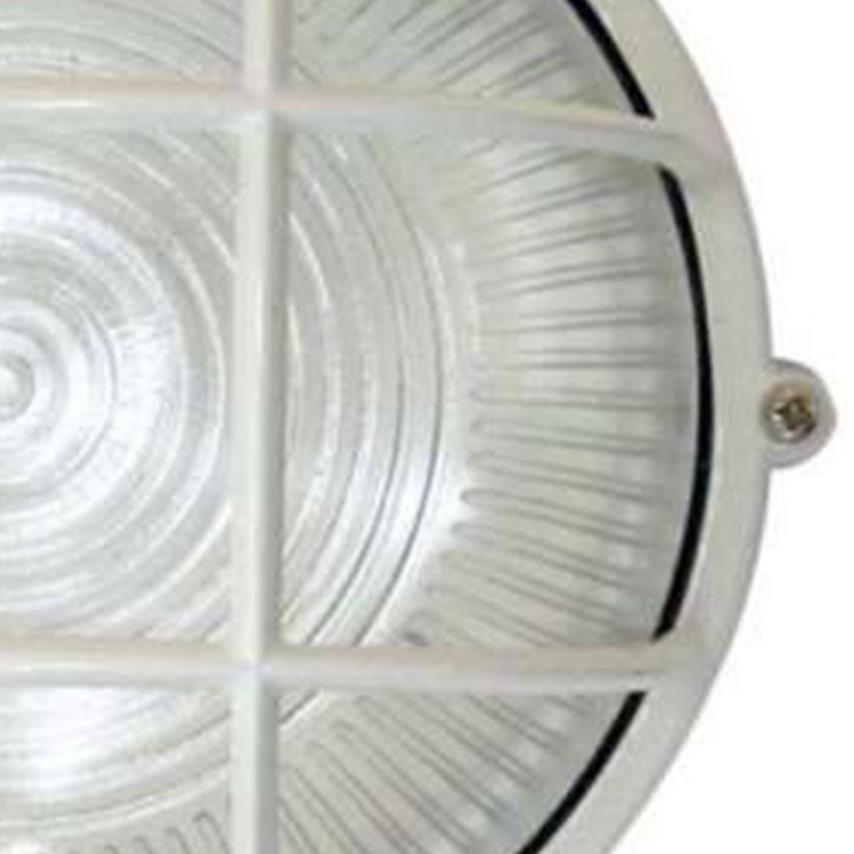 Tartaruga Circular 18cm Aluminio Pint. Epoxi E-27 1 Lamp. Max 60w C/ Grade Branca
