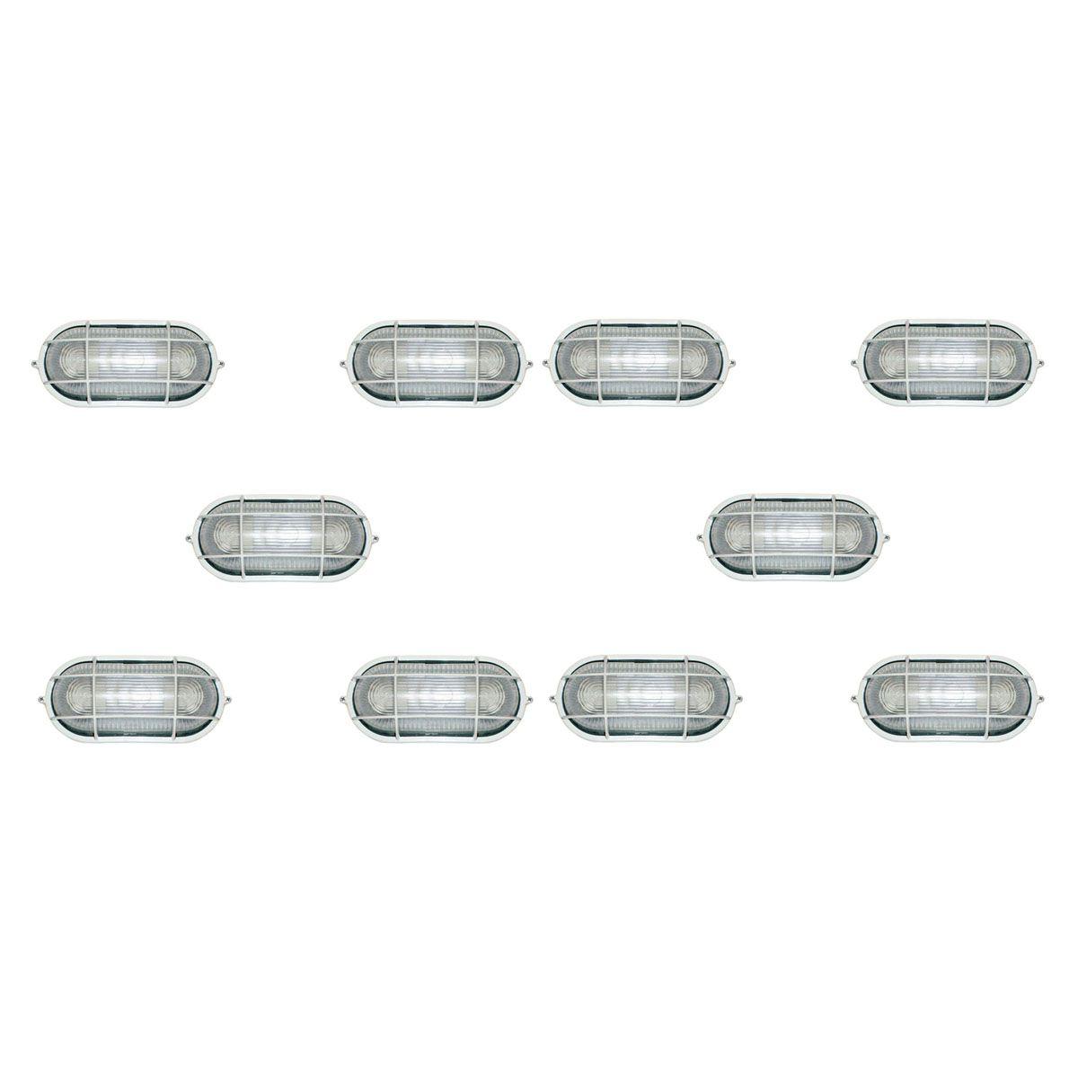 Tartaruga Oval 20cm Aluminio Pint. Epoxi E-27 1 Lamp. Max 60w C/ Grade Branca 10 unidades