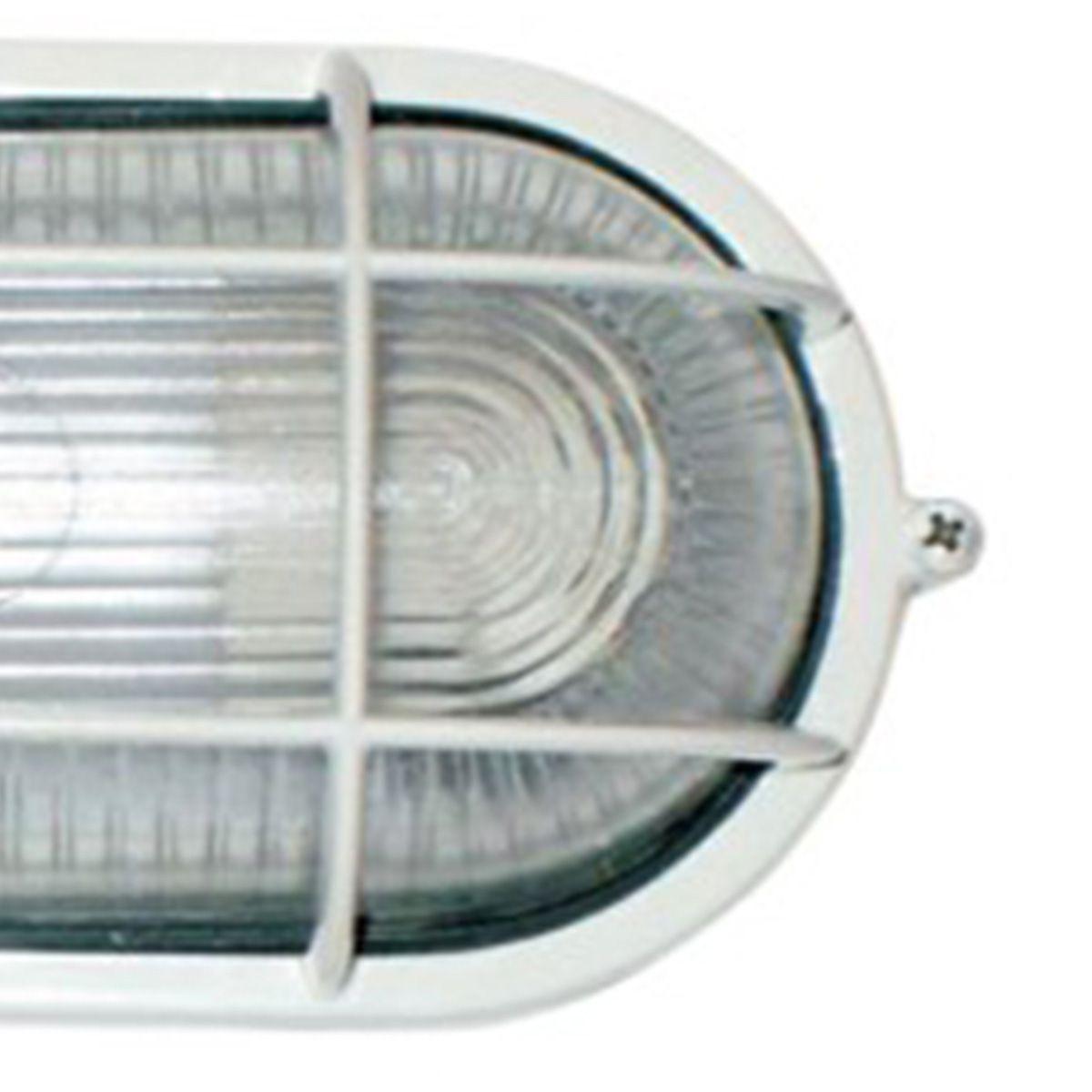 Tartaruga Oval 20cm Aluminio Pint. Epoxi E-27 1 Lamp. Max 60w C/ Grade Branca 5 unidades