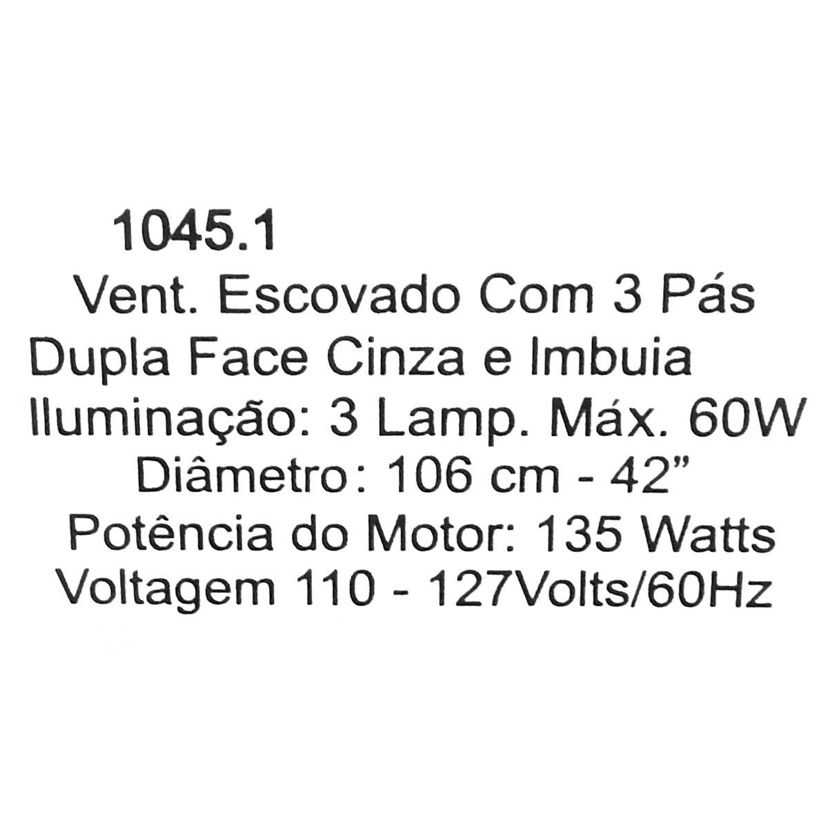 Ventilador De Teto Hl-45 3 Tulipas E-27 3 Pas Reversiveis (Mogno / Cinza) 127v Escovado