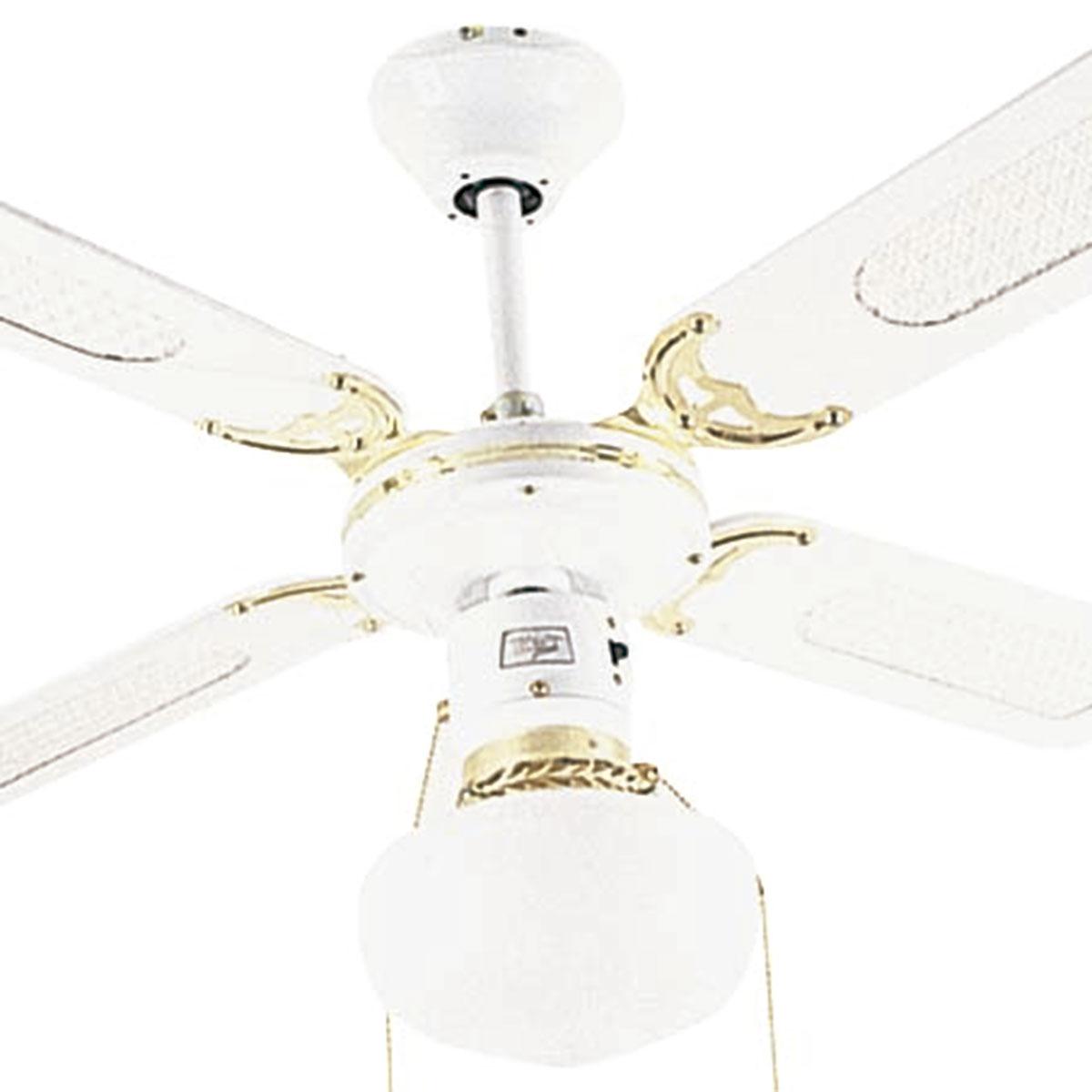 Ventilador De Teto Hl-16 1 Globo E-27 4 Pas Reversiveis Branco/Dourado 220v