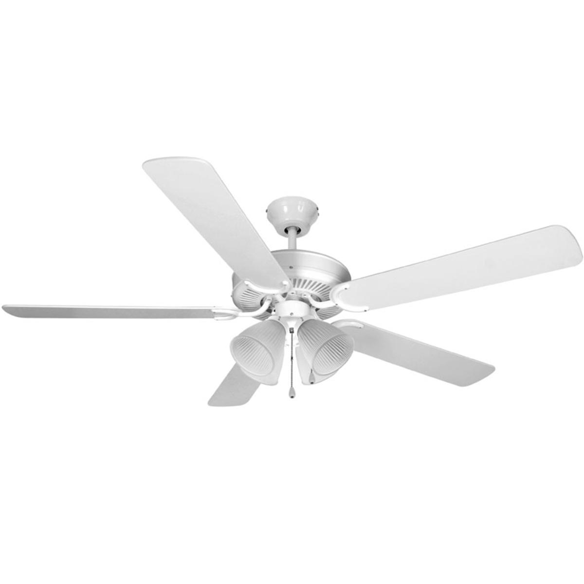 Ventilador De Teto Hl-3   4 Tulipas E-27 5 Pas Reversiveis (Cinza / Branco) Branco