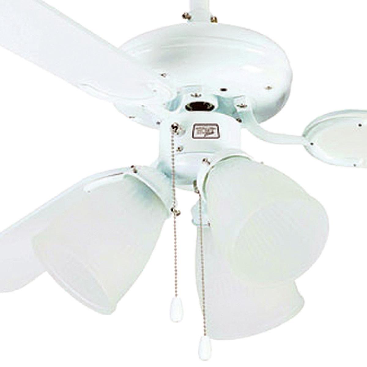 Ventilador De Teto Hl-42 3 Tulipas E-27 3 Pas Reversiveis (Branco / Cinza) Branco 110v Ou 220v