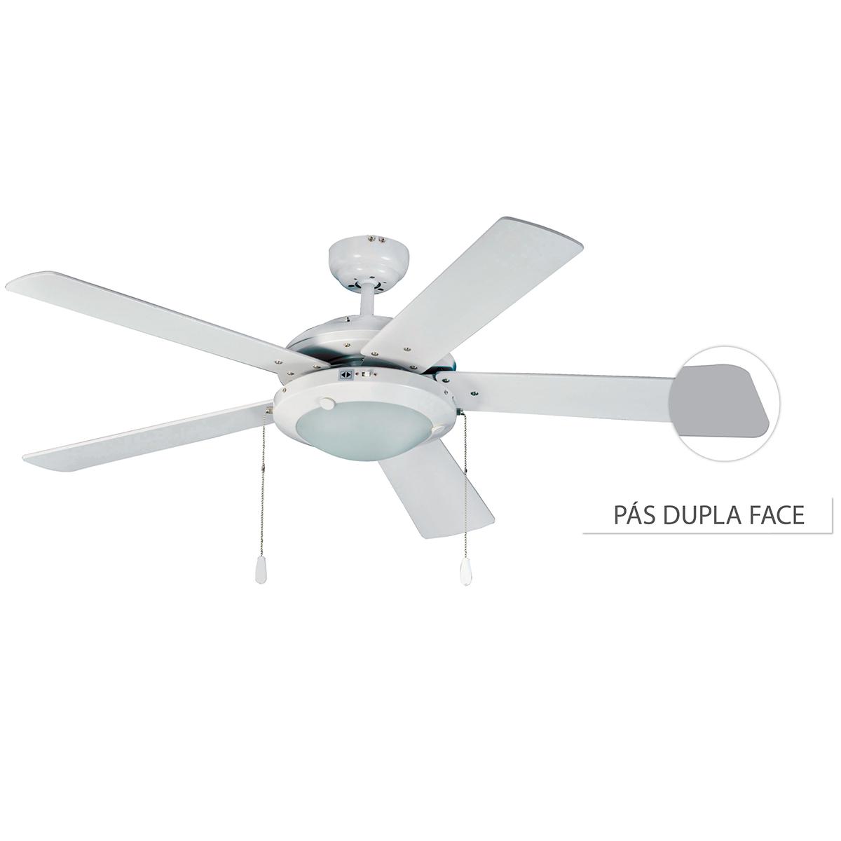 Ventilador De Teto Hl-53 2 Soq E-27 5 Pas Reversiveis (Cinza / Branco) Branco 110v