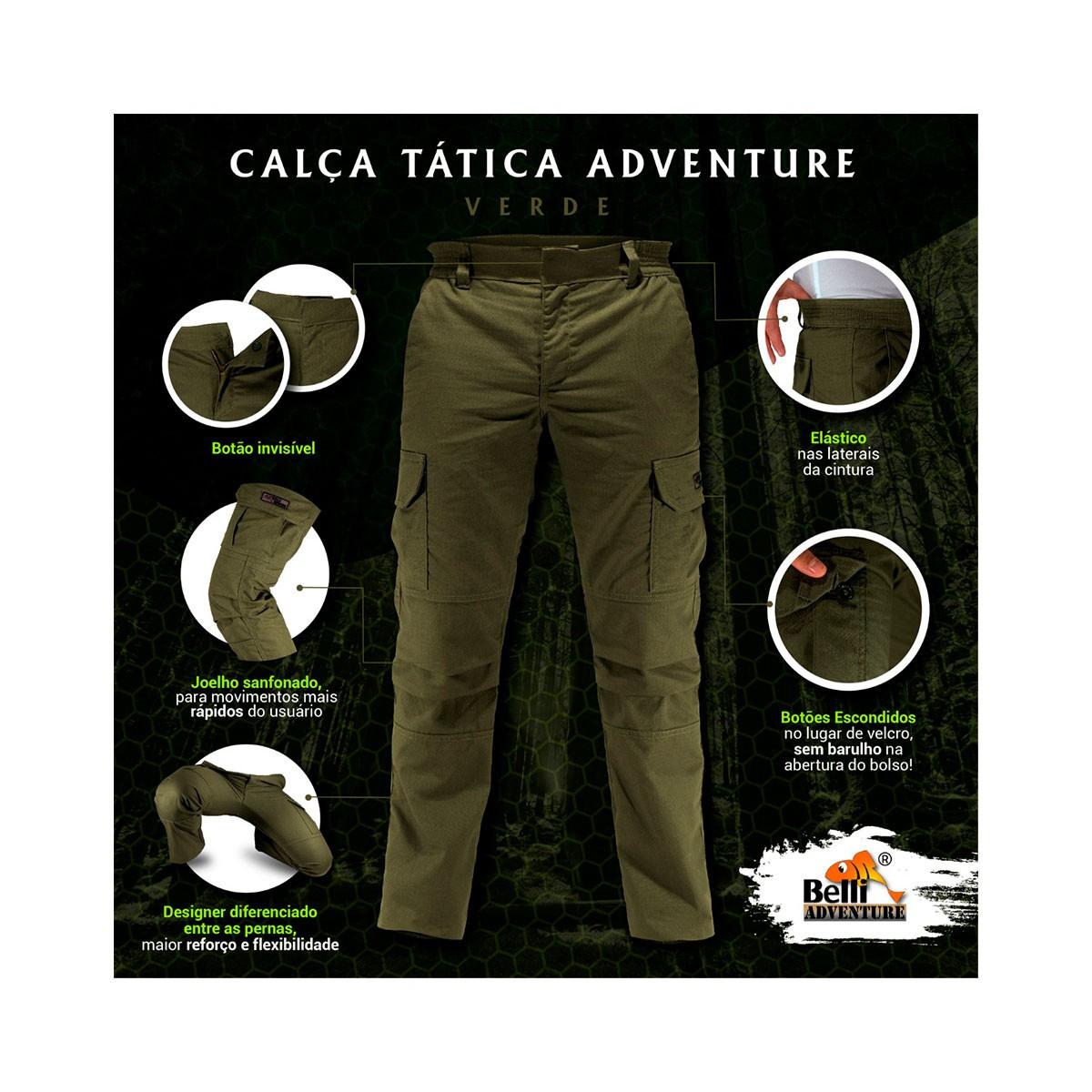 Calça tática masculina adventure plus size grande comfort Belli
