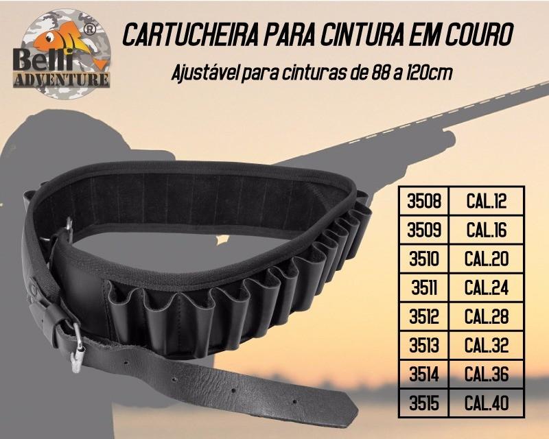 CARTUCHEIRA DE COURO LEGÍTIMO CINTURA CALIBRE 12 AO 40