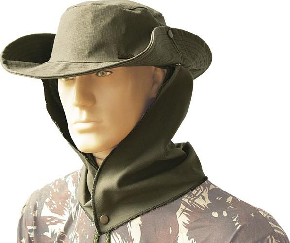 Chapéu proteção na nuca saia removível ripstop com cordão
