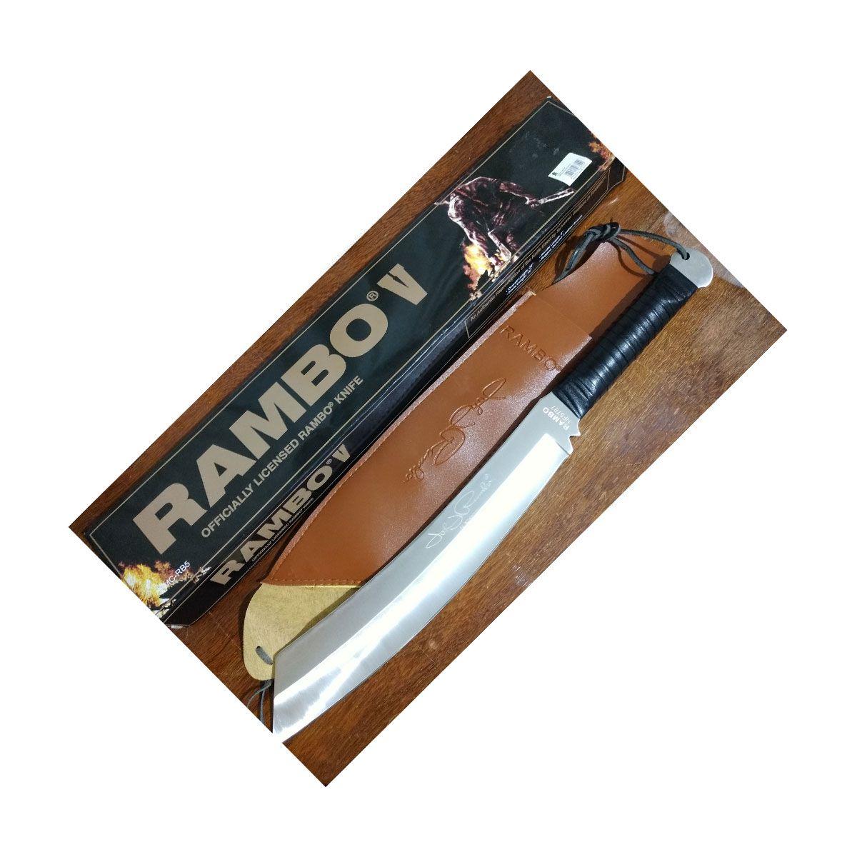 FACA DO RAMBO 5 PRATEADA 56CM - FULL TANG COM BAINHA