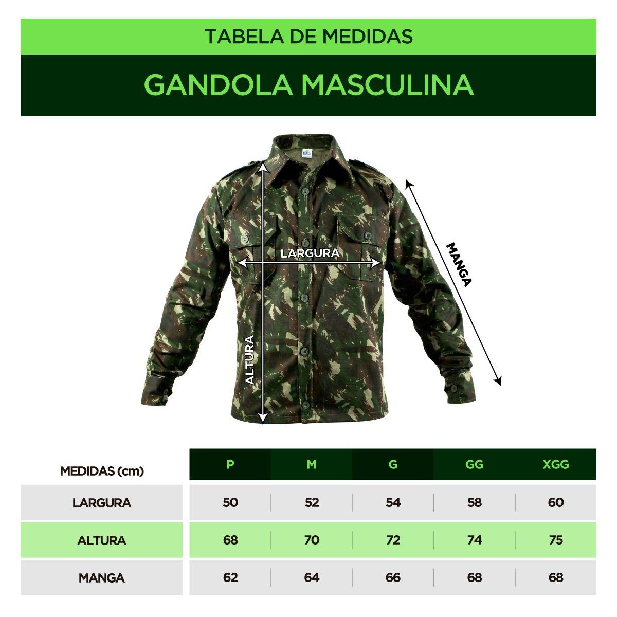 GANDOLA INSTRUÇÃO RIPSTOP COMFORT CAMUFLADA PADRÃO EXÉRCITO