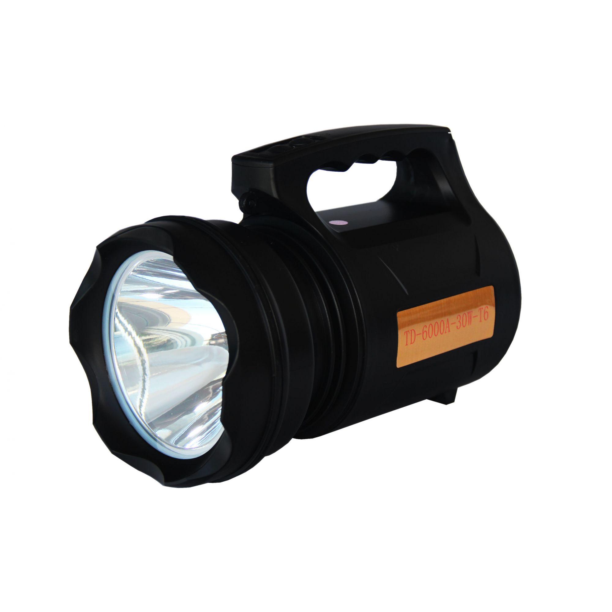 LANTERNA RECARREGÁVEL TD 6000A 30W SUPER LED T6 VERDADEIRA ORIGINAL