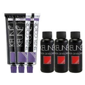 Kit 3 Tintas Keune Ultimate Cover Plus Cor 8.00 + 3 Oxidante 20 Volumes