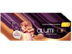 Kit com 10 caixas de Papel Alumínio para Mechas Alumi Hair - 400 Folhas - 9,5x30cm
