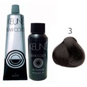 Kit Keune Semi Color 60ml - Cor 3 - Castanho Escuro + Ativador 60ml