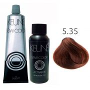 Kit Keune Semi Color 60ml - Cor 5.35 - Castanho Claro Chocolate + Ativador 60ml