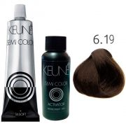 Kit Keune Semi Color 60ml - Cor 6.19 - Louro Escuro Mate + Ativador 60ml