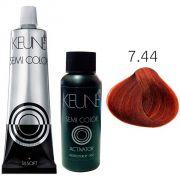 Kit Keune Semi Color 60ml - Cor 7.44 - Louro Médio Cobre Intenso + Ativador 60ml