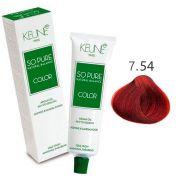 Tinta Keune So Pure 60ml - Cor 7.54 - Louro Médio Mogno Cobre