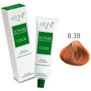 Tinta Keune So Pure 60ml - Cor 8.38 - Louro Claro Avelã