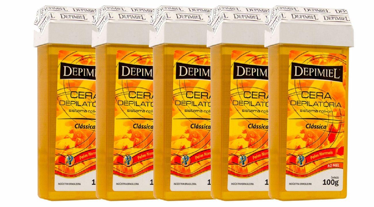 5 Ceras Depilatória Depimiel Roll-on 100g Clássica Mel