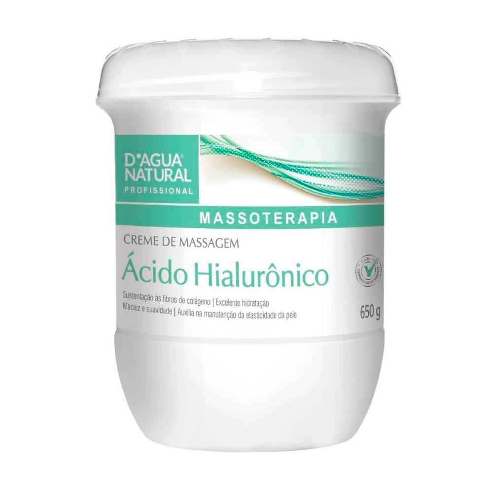 Creme de Massagem Ácido Hialurônico 650g D'agua Natural