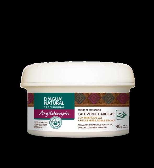 Creme De Massagem D'água Natural Café Verde e Argilas 300g