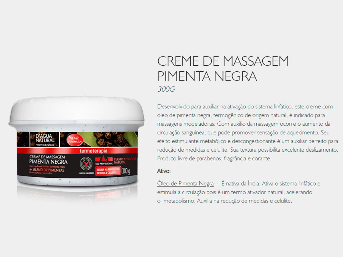 Creme De Massagem Pimenta Negra 300g Dagua Natural