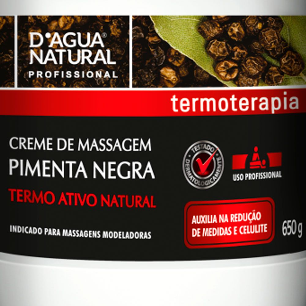 Creme de Massagem Pimenta Negra 650g D'água Natural